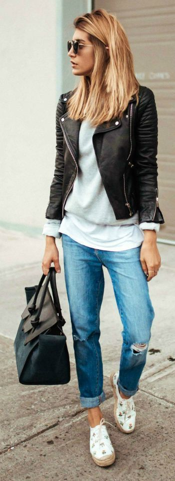 Biker jacket -leather -cuir -perfecto